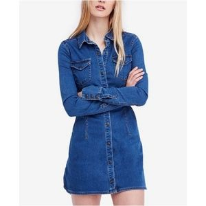 Free People denim dynomite mini dress sz med